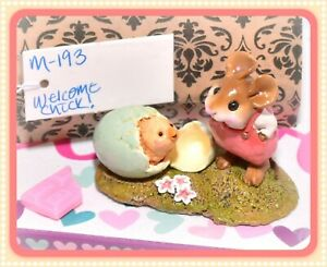 Wee-Forest-Folk-M-193-Welcome-Chick-Easter-Mouse-Retired-ROSE-Overalls-Egg