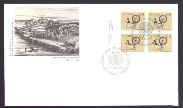Canada  #  933 ULpb        Spinning Wheel       1985       New Fresh Unaddressed