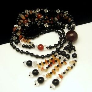 Long-Chunky-Necklace-Large-Pendant-Tassels-Glass-Beads-Stones-Black-Clear-Red