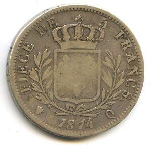 FRANCE-LOUIS-XVIII-5-FRANCS-ARGENT-BUSTE-HABILLE-1814-Q-PERPIGNAN