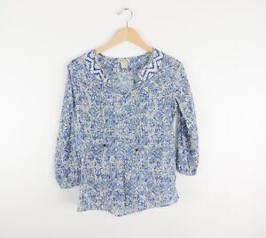 Women-039-s-Lucky-Brand-Blue-Aztec-Blouse-Shirt-Size-Small