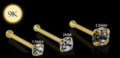 1x 22g 6mm 9K Solid White Gold 2mm Round CZ Nose Stud Ring Pin Bar 9KGBN050
