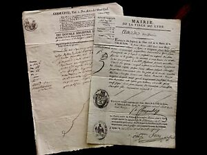 Historical Lot Of Two Old Historical Documents Antiques