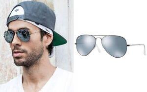 Ray-Ban-Aviator-RB3025-029-30-Sunglasses-Gunmetal-Flash-Silver-Shades-Unisex