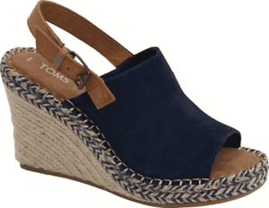 Women-039-s-TOMS-Monica-Slingback-Wedge-Sandal-Navy-Suede-Leather