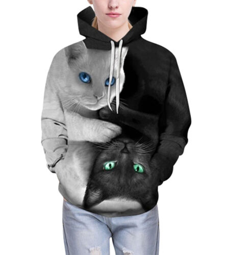 Unisex Realistic 3d Cats Print Galaxy Pullover Hoodie Sweatshirt