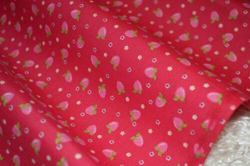 Pequeña Rosa fresas en Rojo tejido de algodón Por Metro