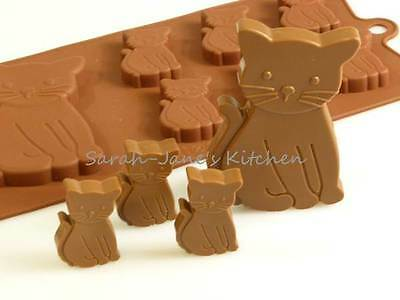 6+1 Cat / Kittens Chocolate Silicone Mould cake topper wax crayon animal pet