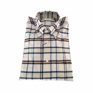 Camicia blu Usa In Cotone 100 Brooks Brothers Uomo Made moro Ecru Quadri OHxn57wRq