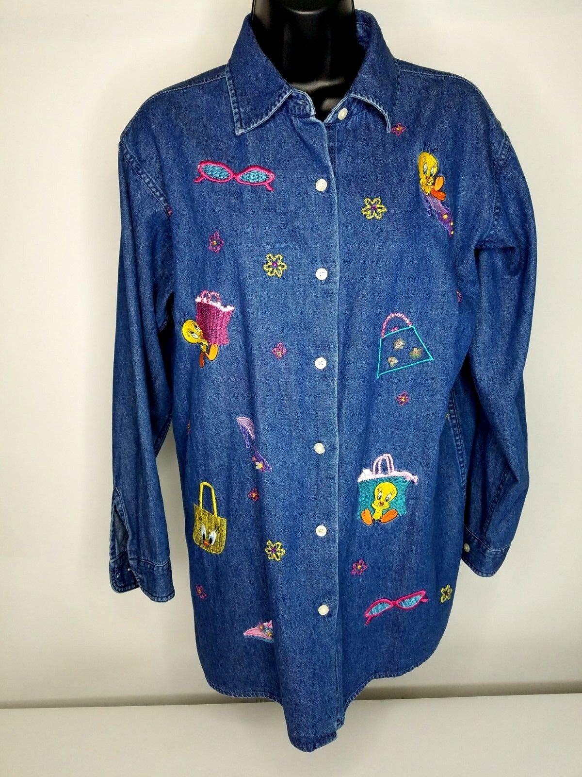 Warner Bros Women Top bluee Denim Shirt Tweety Embroidered Looney Tunes Small