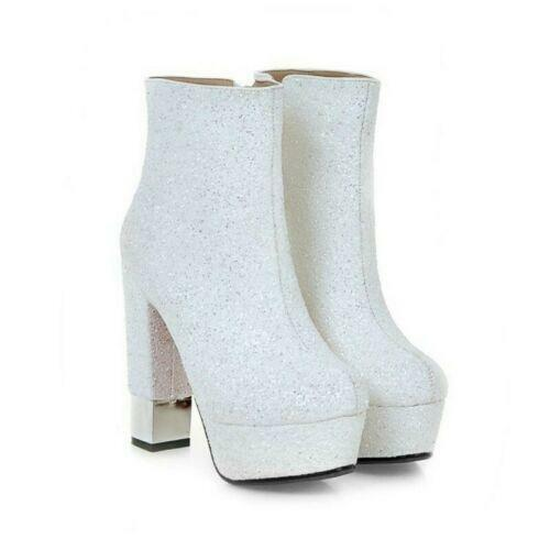 Women Round Toe Sequins Zipper Block 13cm Heels Ankle Riding Boot Big Size 34-43