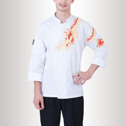 Unisex Work Uniform Outerwear Fashion Chef Coat Dragon Pattern Cook Jacket