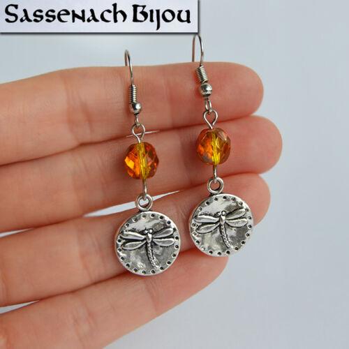 Outlander Sassenach Jewelry Dragonfly Earrings Czech Glass Amber Beads Hooks