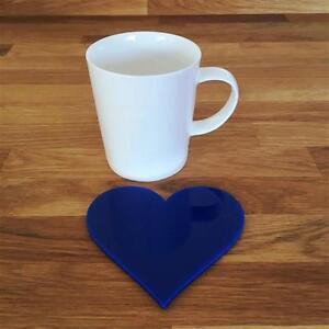 """En Forme De Cœur Bleu Brillant Acrylique Coasters- ensembles de 4- 6 ou 8- 11 cm 4""""-afficher le titre d`origine e0rbDq9v-07204524-383020838"""