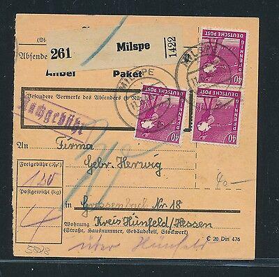 03404 Ab Paketkarte Milspe Hünfeld GroßEs Sortiment Mef 3x 40pf Arbeiter 11.6.48 N