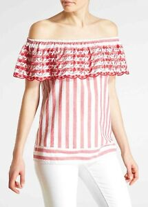 322b577fcfc0 Details about NEW 2019 Falmer Size 16 SUMMER Cool Bardot TOP Striped Floral  Embroidery Matalan