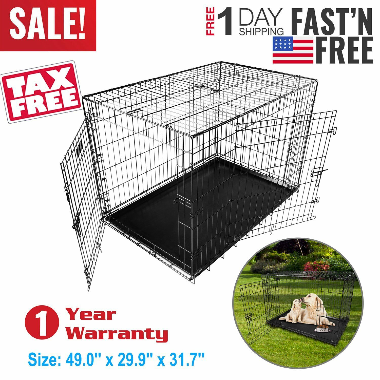Extra Large Dog Crate Kennel 48  Inch Folding Pet Cage Metal 2 Door Training XXL