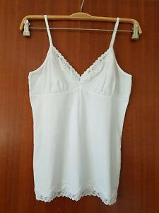 Weiß Top Hemdchen Gr.42 XL ESPRIT BODYWEAR Spitze Dessous Unterhemd NEU Camisole