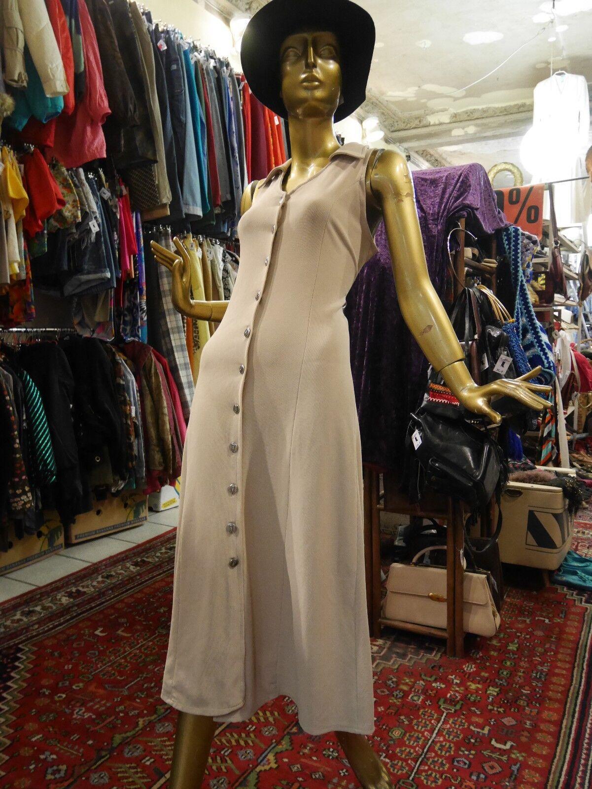 PLEIN FUTUR M Kleid 90er Sommerkleid beige TRUE VINTAGE 90s button down dress