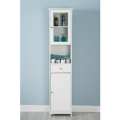 White Wooden Cabinet Tall Mirrored Cabinet Wooden Shelf Storage Unit Bathroom