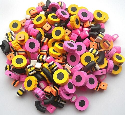 100 mezclados al azar Fimo Bertie Bassett-Regaliz Allsorts Beads 8-12MM