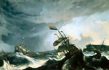 Old Masters reprint (v1f10)Ludolf Backhuysen  Ships in Distress in a Heavy Storm