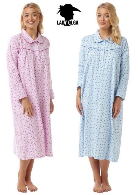 LADIES WARM WINCEYETTE WINCEY BRUSHED COTTON LONG SLEEVE NIGHTDRESS NIGHTIE