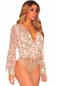 Body Body Camicia Maglia Retato Nudo Trasparente Mesh Unlined Mock Neck Bodysuit M