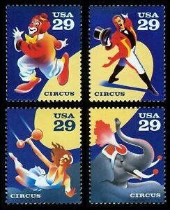 #2750-2753 29c Circo, Individuales, Nuevo Cualquier 5=