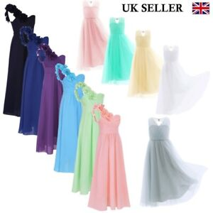 UK-Girls-Flower-Party-Chiffon-Dress-Child-Princess-Bridesmaid-Wedding-Prom-Gown