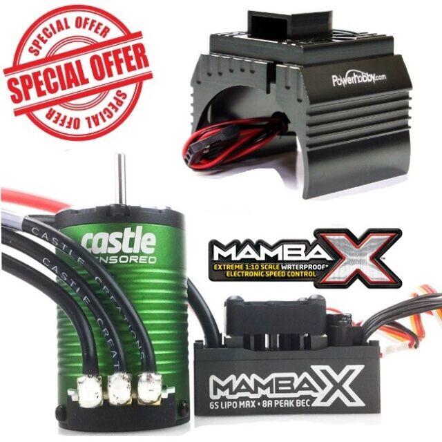 Castle Creations Mamba X 1/10 con Sensor Esc 1406 4600KV Motor + Ventilador Gun
