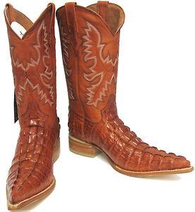 9a17dd74f55 Details about Men's Crocodile Alligator Tail Leather Cowboy Western Biker  Pointy Boots Cognac