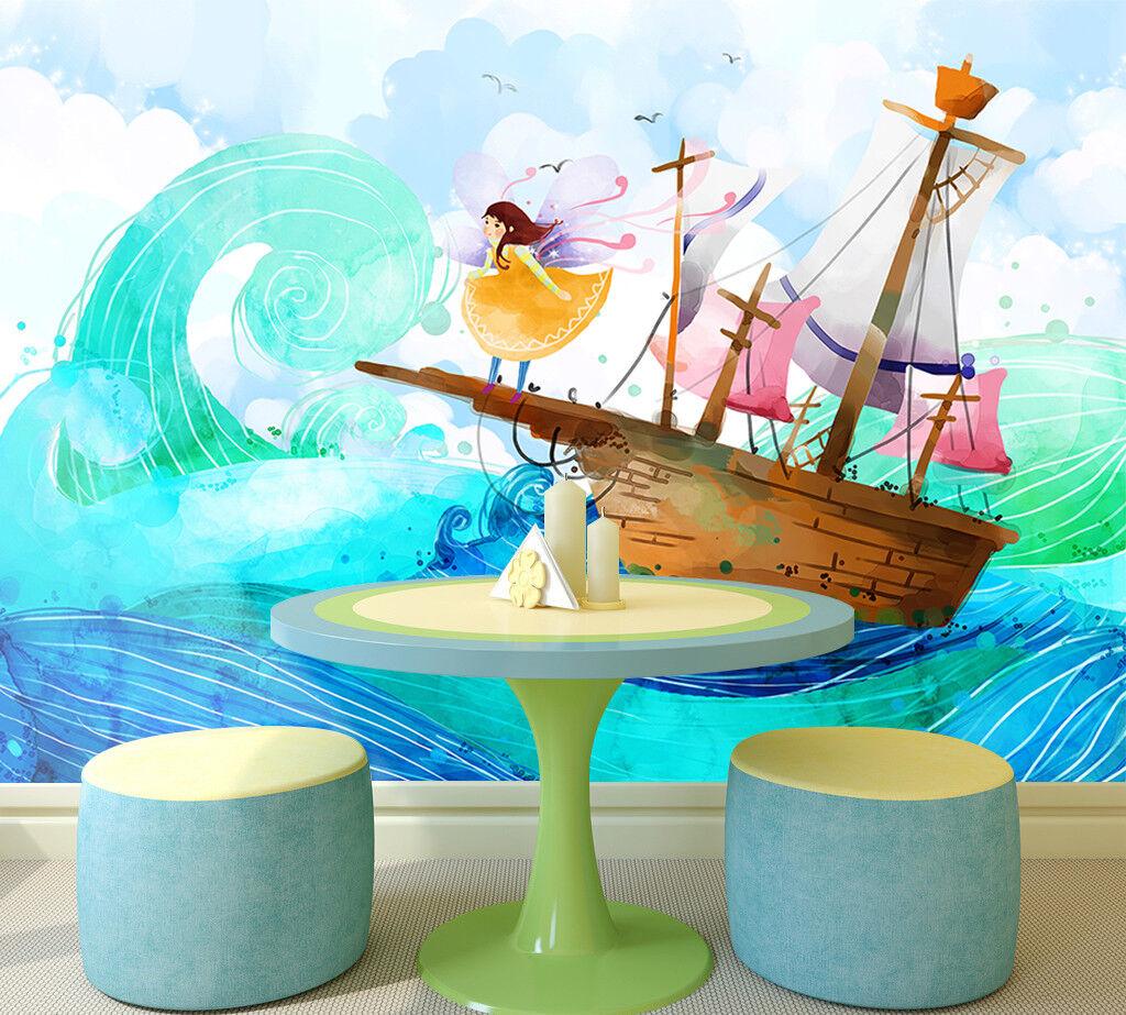 3D Karikatur Segeln Meer 898 Tapete Wandgemälde Tapeten Bild Familie DE Lemon