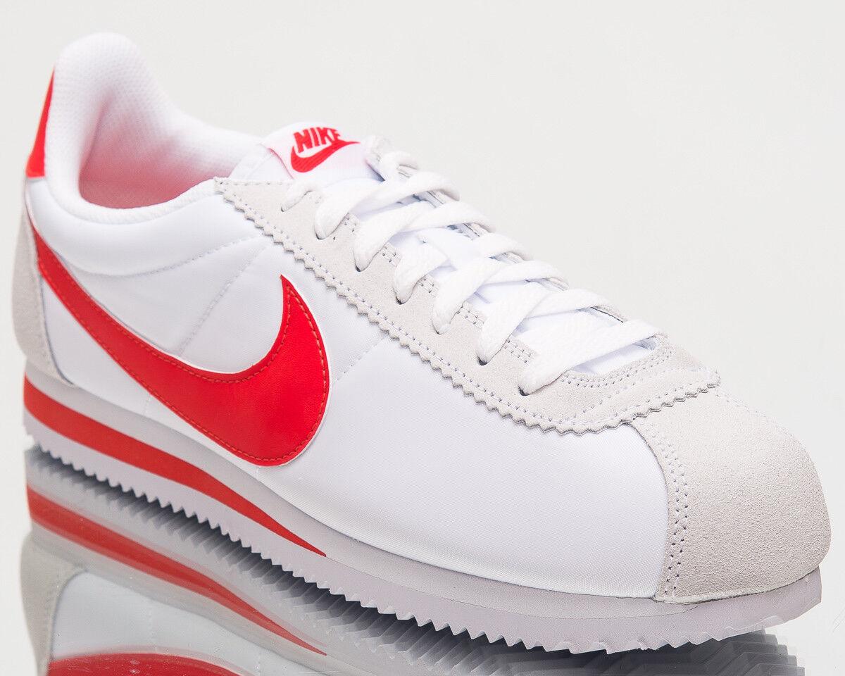Nike Classic Cortez Nylon Uomo New Shoes White Habanero Red  807472-101