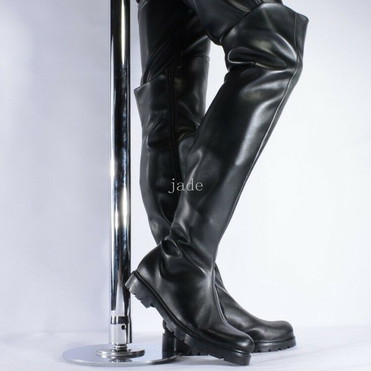 Super Cool Mens Semigloss Pole dance Over Knee Boots Side Zipper Block Heel shoes