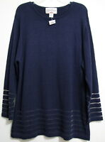 Carolina Colours Plus 22/24 Womens Navy Blue Long Sleeve Crewneck Sweater