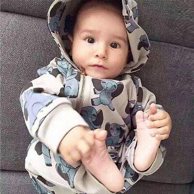 Kids Baby Boy Girls Infant Zipper Romper Hooded Jumpsuit Bodysuit Clothes Outfit