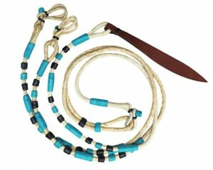 Western-Saddle-Horse-Braided-Genuine-Leather-Romal-Romel-Reins-w-Leather-Popper