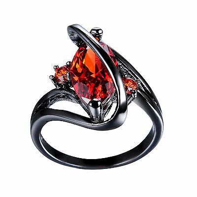 "Marquise Cut Red Ruby Garnet ""S""Shape Wedding Ring 10KT Black Gold Filled Sz6-10"