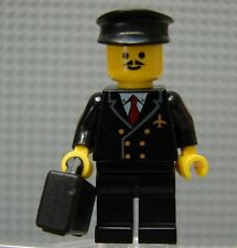 LEGO Airline Pilot Black Suit with Hat and Briefcase Suitcase