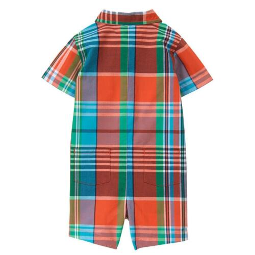 NWT Gymboree Little Weekender Baby Boys Plaid Button Down Romper Sunsuit