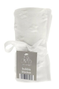 Baby Buggy Pram Cot Moses Soft White Star Bubble Blanket Elli & Raff  75x90cm 5023674164170