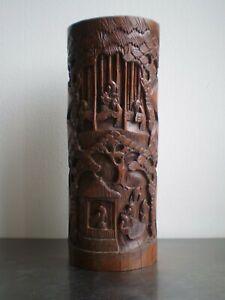 BAMBOU-SCULPTE-ANCIEN-ART-ASIE-DECOR-CHINE-PERSONNAGE-19-s-DECO-ORIENTALE