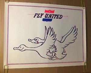 Original Vintage Blacklight Poster Fly United Geese Sex Satire 60s