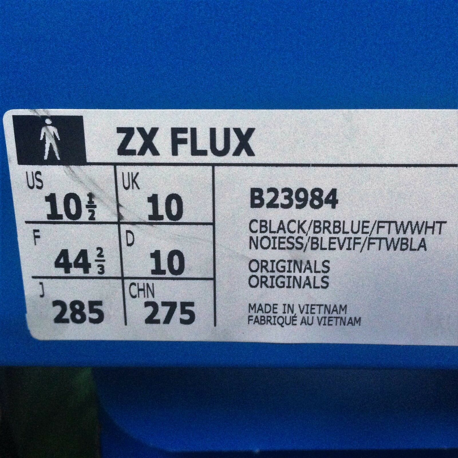 ADIDAS ZX FLUX BNIB BLK/BLUE/WH/MULTI SIZE 10.5 10.5 10.5 5e1fd6