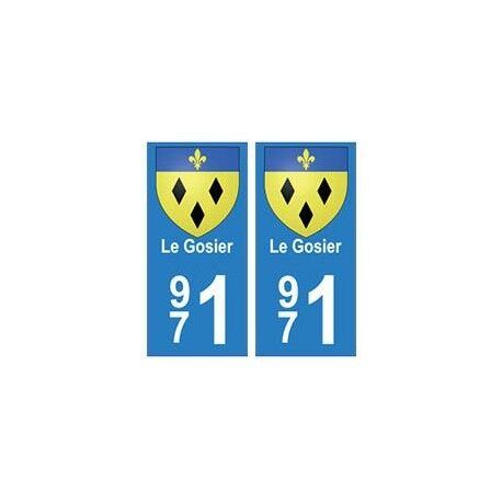 971 Le Gosier autocollant plaque -  Angles : droits