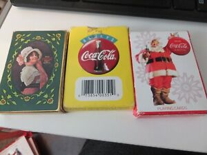 LOT OF 3 Coca Cola  Playing Cards  Deck USED