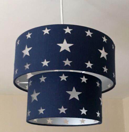 2 Tier Dark blue Pendant Light Lamp Ceiling Shade Fabric Material Drum Stars Kid