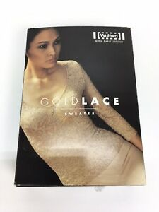 Wolford | GOLD LACE Sweater - Damen Shirt | Gr. L | Farbe nude/gold | NEU & OVP