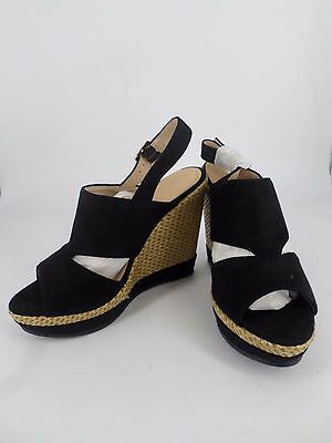 Erynn Negro Con Tiras Peep Toe Zapatos de tacón cuñas W Tejida UK 4 EU 37 LG077 JJ 03